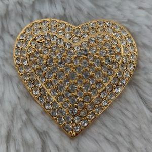 Vintage Joan Rivers Pave Rhinestone Heart Pin